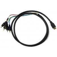 Шнур штекер HDMI - штекер 5хRCA (AVI) (1,5м)