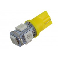 Светодиодная автолампа T10-5x5050 (желтая)