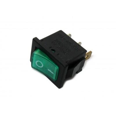 Выключатель с подсветкой 220В 110, 3 контакта, зеленый