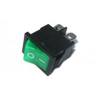 Выключатель с подсветкой 220В 111, 4 контакта, зеленый
