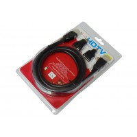 Шнур штекер HDMI - штекер HDMI (2 фильтра,  1,5м, с переходниками)