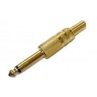Штекер 6,3мм (2c) моно (желтый металл)