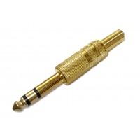 Штекер 6,3мм (3c) стерео (желтый металл)
