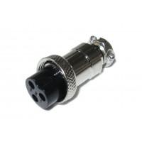 Гнездо mini XLR кабельное 3pin (серый металл)