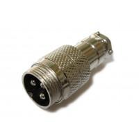 Штекер mini XLR кабельный 3pin (серый металл)