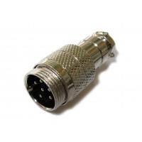 Штекер mini XLR кабельный 6pin (серый металл)