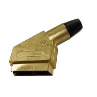 Штекер SCART под кабель (желтый металл)