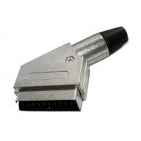 Штекер SCART под кабель (серый металл)