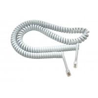 Шнур телефонный витой (трубочный, белый, 4,5м)