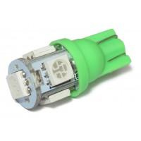 Светодиодная автолампа T10-5x5050 (зеленая)