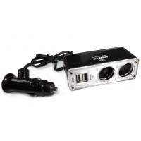 Переходник штекер прикуривателя - 2 гнезда прикуривателя + 2 гнезда USB (с кабелем)