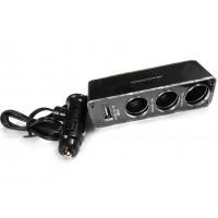 Переходник штекер прикуривателя - 3 гнезда прикуривателя + 1 гнездо USB (с кабелем)