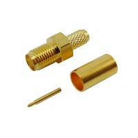 Штекер RP-SMA на кабель RG-58 под обжим (желтый металл)