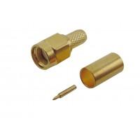 Штекер SMA на кабель RG-58 под обжим (желтый металл)